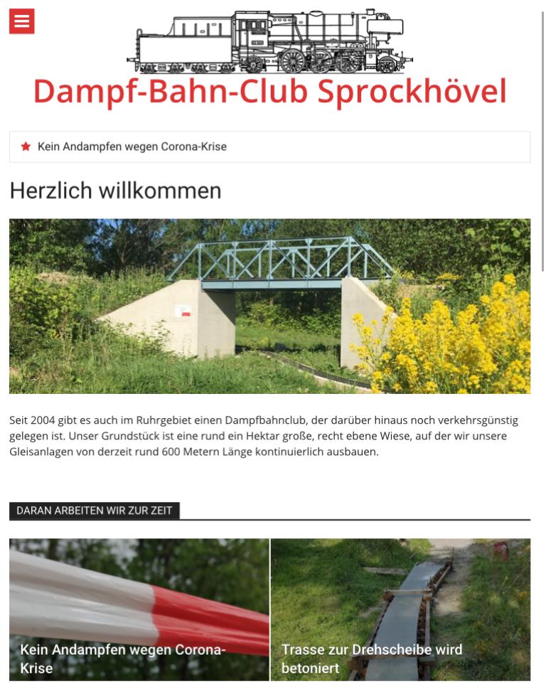 Screenshot der DBC-Homepage auf einem Tablet